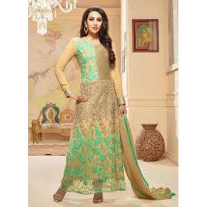 Designer Suit - Golden With Sea Blue - Aashirwad