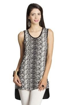 Mohr Women's Sleeveless Shirt With Printed Front Off White