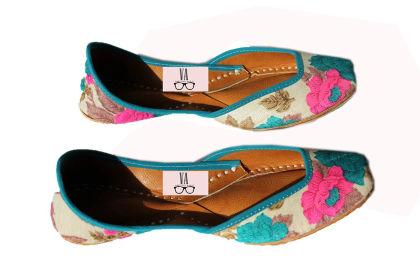 Printed Blue Pink Floral Jutti - Vanshika