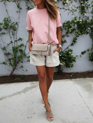 Pink Round Neck Casual Loose T-shirt - She In