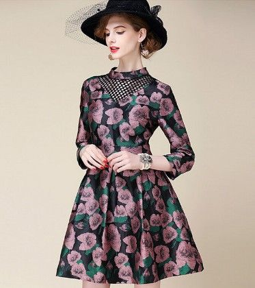 Rich Sateen Floral Dress - Drape In Vogue