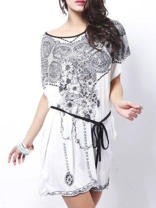 White Flower Print Dolman Dress - She In