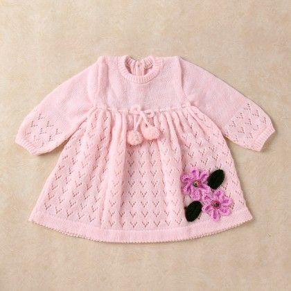 Pink & White Blended Dress - Knitting Nani