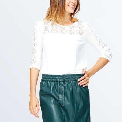 T-shirt With Lace Detailing White - Kiabi