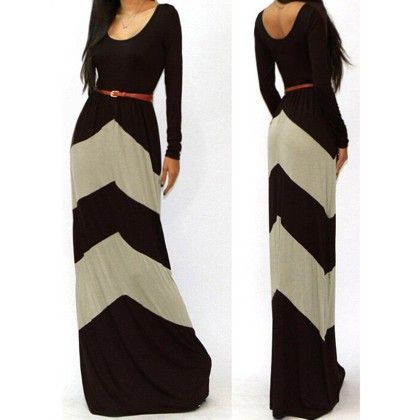 Full Dress With Waist Belt Grey Black - STUPA FASHION