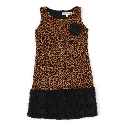 Leopard Print Dress With Broad Black Lace - ChipChop
