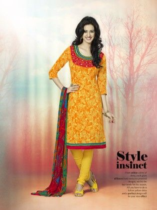Touch Trends Yellow Printed Cotton Dress Material-4 - Touch Trends Ethnic