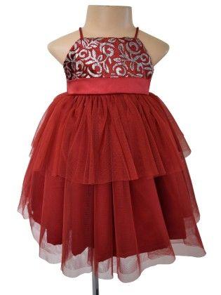 Burgundy Shimmer Dress  - Burgundy - Faye