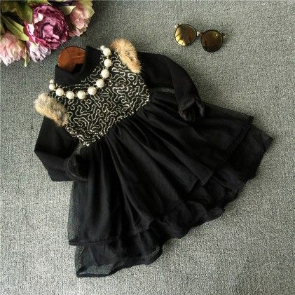 Black With Fur Winter Party Frock - Lil Mantra