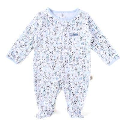 Blue Teddy Allover Print Soft Sleepsuit - TOFFYHOUSE