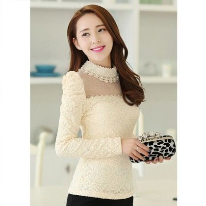 Pearl Neck Top Cream - STUPA FASHION