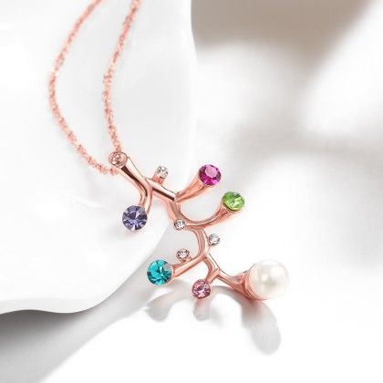 Rose Gold Plated Multi Gem Branchnecklace With Swarovski Elements - Rubique Jewelry