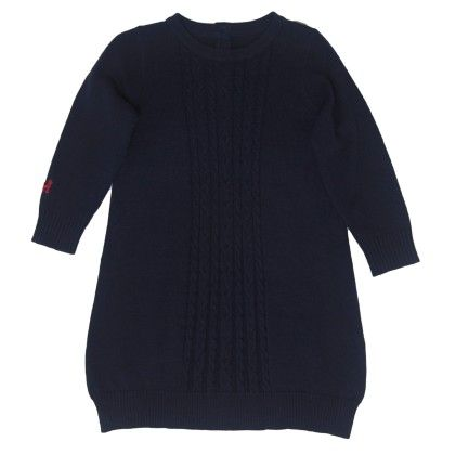 Navy Straight Cable Knit Dress - Frenchie Mini Couture