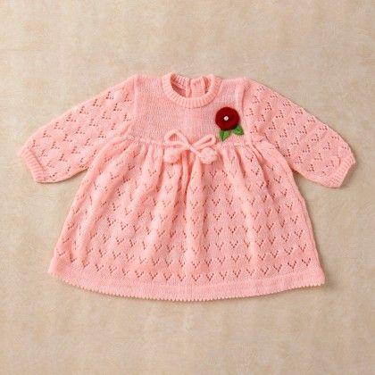 Peach & White Blended Dress - Knitting Nani