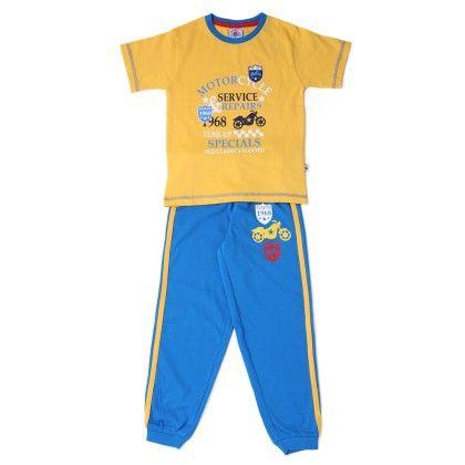 Half Sleeves Yellow T-shirt With Blue Bottom - Punkster