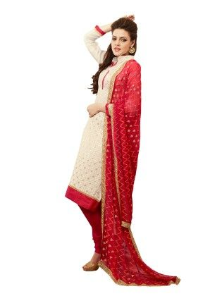 Touch Trends Cream Chanderi Silk Dress Material - Touch Trends Ethnic