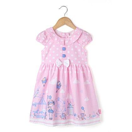 Cap Sleeve Collar Dress With Border  Print - Pink - Chocopie