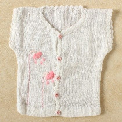 White Vest With Pink Floral Embroidery - Knitting Nani