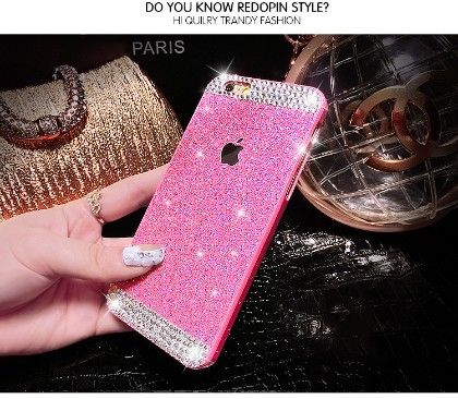 Luxury Rhinestone Crystal Phone Cover With Hard Case   ( Shimmer Design-hot Pink) - Dressingloft