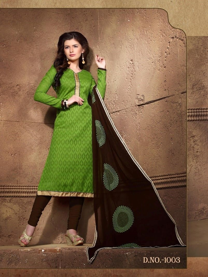 Green And Brown Cotton Dress Material - Fashion Fiesta