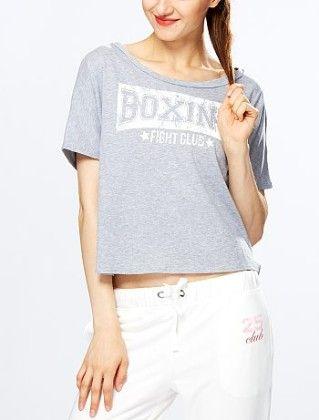 Printed Cropped Sports T-shirt Grey - Kiabi