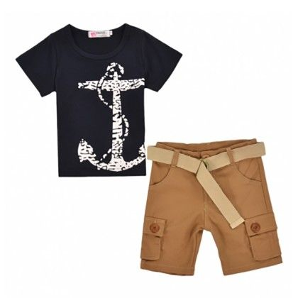 New Cute Boys Two Pieces Casual Beach Fashion Short Sleeve Anchor Print T-shirt And Solid Shorts Set - Kidsloft