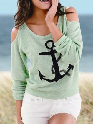 Green Cold Shoulder Anchors Print T-shirt - She In