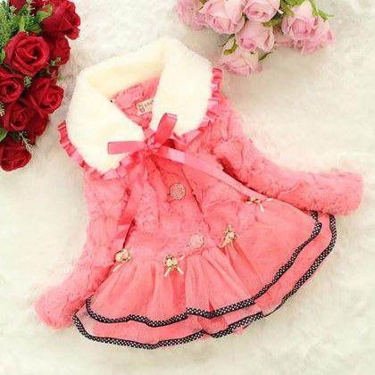 High Quality Baby Children Girls Floral Flower Winter Faux Fox Fur Collar Coat Clothing - Kidsloft