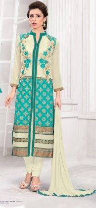 Off White And Blue Georgette Churidar Semi Stitched Suit - Fashion Fiesta