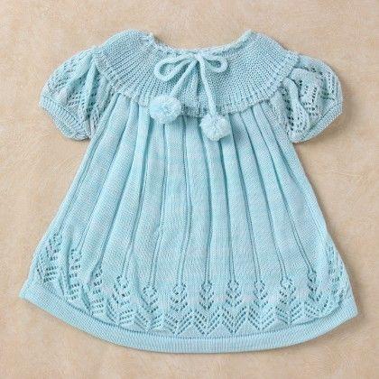 Light Blue & White Blended Yoke Dress - Knitting Nani