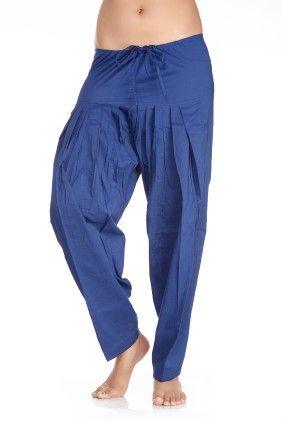 In-sattva Women's Indian Rich Colored Patiala Pants- Dark Blue - In Sattva