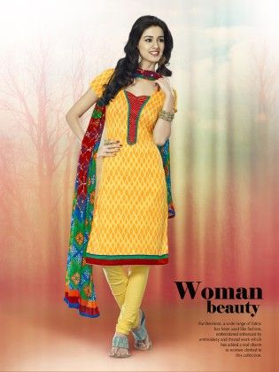Touch Trends Yellow Printed Cotton Dress Material-5 - Touch Trends Ethnic