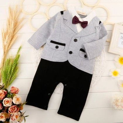 Cute Full Sleeves Blazer Romper With Bow - One Pc - Gray - Richy Lad
