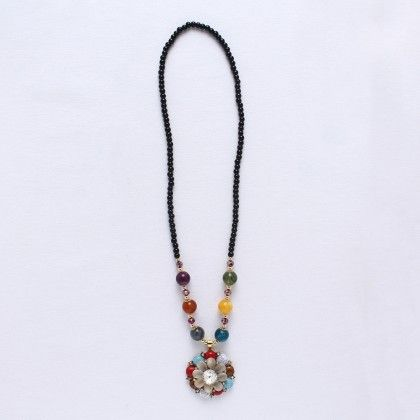 Black Beads With Multi Color Flower And Multi Color Beads - Wilfred Jewellery