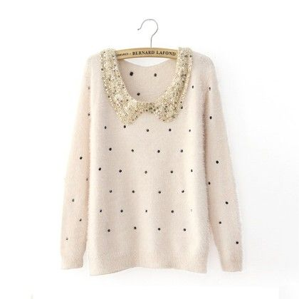 Neck Sequnce Cardigan Cream - STUPA FASHION