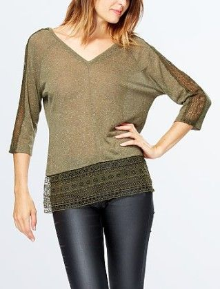 T-shirt With Lace Inset And Low Back Khakhi - Kiabi