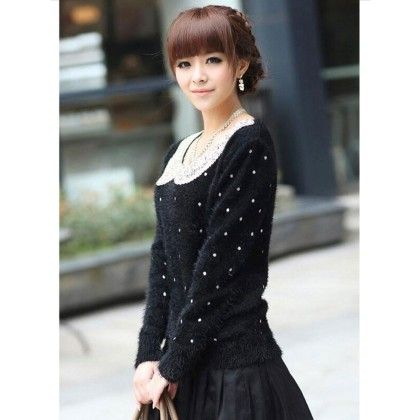 Neck Sequnce Cardigan Black - STUPA FASHION