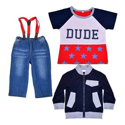 3 Piece Boys Set Of Bib Pants,t-shirt And Sweatshirt - Kidsloft