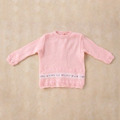 Light Pink Full Sleeve Baby Coat With Lace Border - Knitting Nani