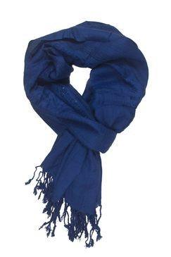 In-sattva Colors Decorative Border Scarf Stole Wrap Blue - In Sattva