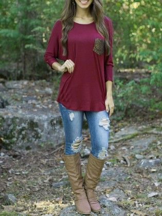 Wine Red Round Neck Pocket Loose T-shirt - She In