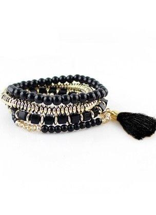 Black Bead Bohemian Bracelet - She In