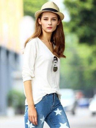 White V Neck Vintage Loose T-shirt - She In