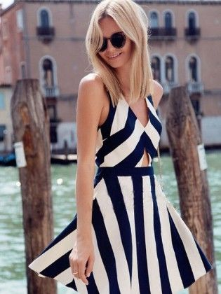 Halter Neck Striped Dress - Drape In Vogue