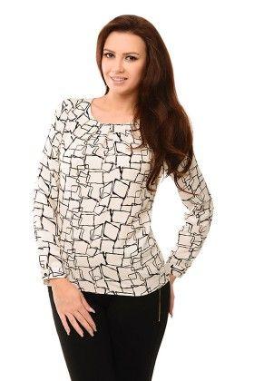 Squares Print Blouse Top-off White - Waldemix Fashion