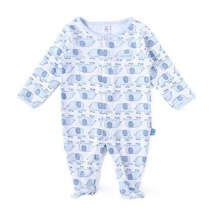 Elephant Allover Print Soft Sleepsuit - Blue - TOFFYHOUSE