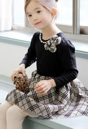 Black With Checkered Winter Party Frock - Lil Mantra