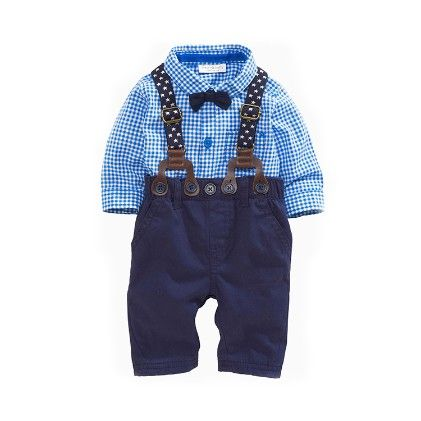 Boys 3 Pcs Set - Full Sleeves Shirt With Bow, Pants And Braces - Richy Lad