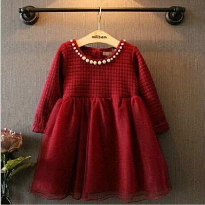 Red With Pearl Winter Party Frock - Lil Mantra
