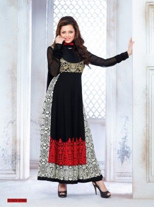 Touch Trends Black Georgette Dress Material - Touch Trends Ethnic